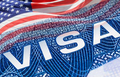 USA visa and American flag